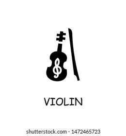 Violin flat vector icon. Hand drawn style design illustrations.