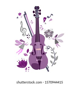 Violin and flowers, flat drawn vector symbols.Little fairies with wings fly near the violin.The element of poster design for music festival