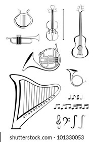 Violin, guitar, lyre, French horn, trumpet, harp and notes