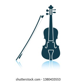 Violin icon. Shadow reflection design. Vector illustration.