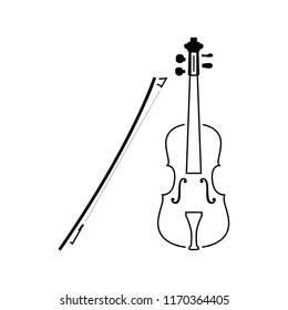 Violin icon. Thin line design. Vector illustration.