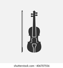 Violin icon vector, solid illustration, pictogram isolated on white