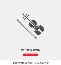 Violin icon vector. Violin symbol. Linear style sign for mobile concept and web design. Violin symbol illustration. Pixel vector graphics - Vector.