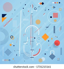 Violin illustration with abstract elements
