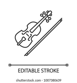 Violin linear icon. Thin line illustration. Fiddle. Contour symbol. Vector isolated outline drawing. Editable stroke