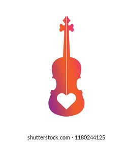 violin logo concept. violin with love heart logo concept