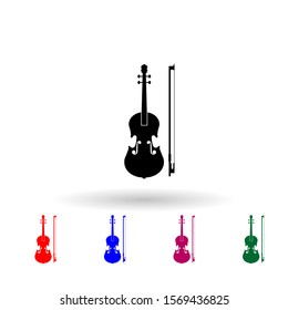 Violin multi color icon. Simple glyph, flat vector of music instrument icons for ui and ux, website or mobile application