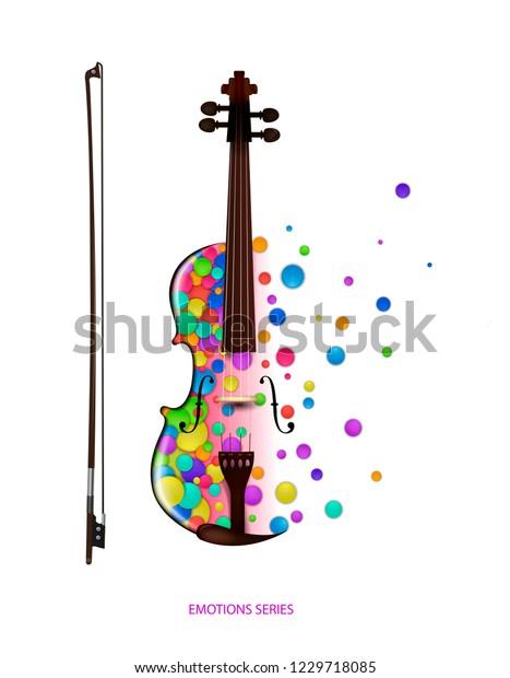 Violin Music Idea On White Background Stok Vektor Telifsiz