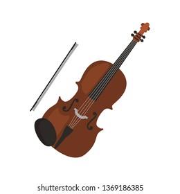 Violin music instrument color vector icon. Flat design
