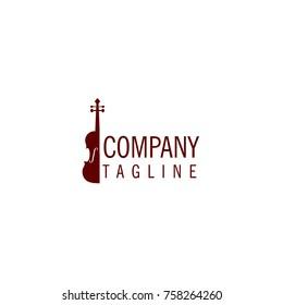 violin music instrument store icon logo vector