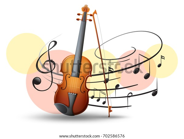Violin Music Notes Background Illustration Stock Vector (Royalty