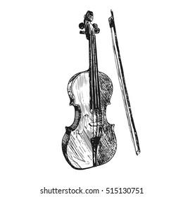 Violin. Musical instruments. Sketch hand drawn vector illustration. Engraving retro vintage style.