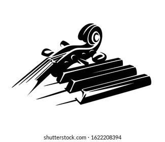 violin neck and piano keys ensemble - classical music black and white vector concept design