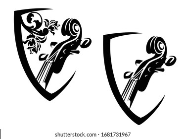 violin neck and rose flowers in coat of arms shield - string musical instrument black and white vector heraldic design