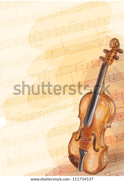 Violin On Music Background Handmade Notes Stock Vector (Royalty Free