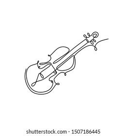 Violin one continuous line drawing music instrument. Vector illustration minimalism design