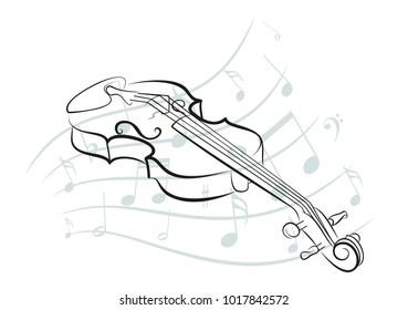 Violin sketch with notes