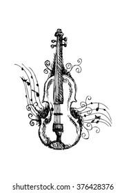 Violin. Sketchy style.