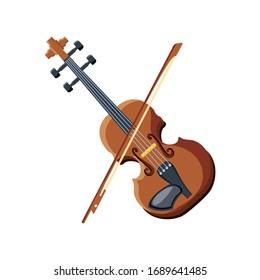 violin with stick on white background vector illustration design