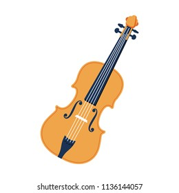 Violin vector flat icon. Isolated acoustic instrument illustration. Classic music equipment for orchestra, audio entertainment symbol. Wooden musical instrument fretboard. String music festival sign