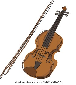 Violin. Vector illustration of a violin isolated on white. Hand draw violin.