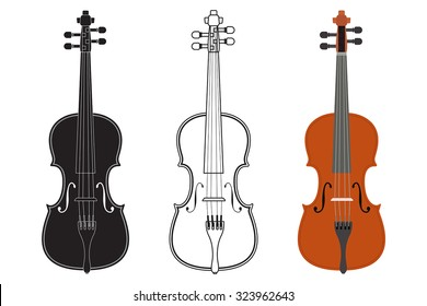 Violin. Vector isolated on white.