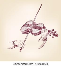 Violin - vintage hand drawn vector illustration
