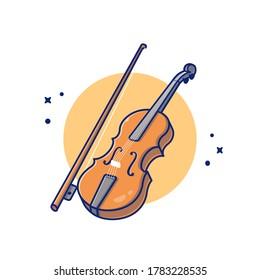 Violin Wood Music Cartoon Vector Icon Illustration. Music Instrument Icon Concept Isolated Premium Vector. Flat Cartoon Style