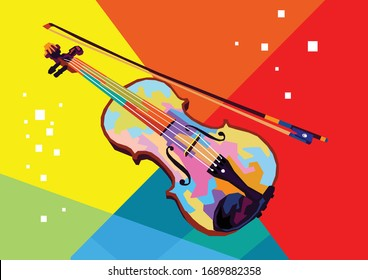 Violin in wpap pop art style for music illustration icon image and background isolated