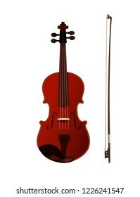 violine with fiddelestick isolated, detailed realistic violine isolated, vector