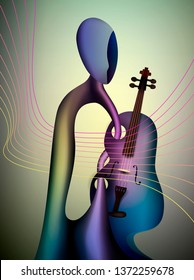 violinist concept, musician and violin contemporary art, man and music surrealism shapes, abstract violinist vector