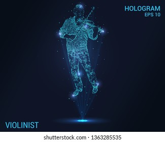 Violinist hologram. A holographic projection of the violin. Flickering energy flux of particles. Research design the violinist
