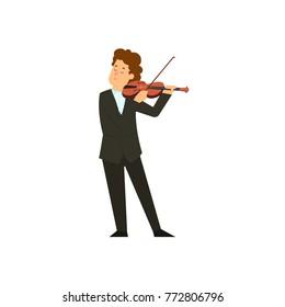 Violinist man character playing music. Vector flat cartoon illustration