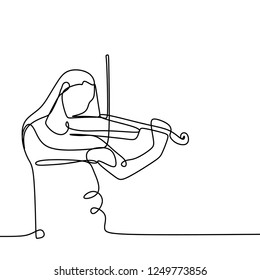 Violinist one continuous line art drawing vector illustration. Girl playing violin isolated on white background.