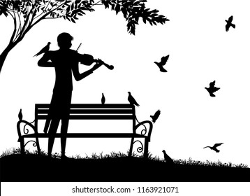 violinist plays in the park with pigeons, violin dreamer, romantic lonely melody with birds, summer nostalgic memories, silhouette, vector,