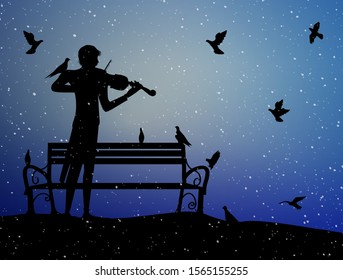 violinist plays under the snow in the park with pigeons, violin dreamer, first snow nostalgic memories, silhouette, vector,