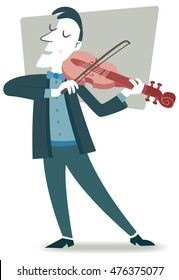 Violinist. Retro style illustration of a musician playing the violin.