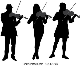 Violinist Silhouette on white background