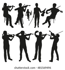 Violinists Vector Silhouettes
