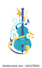 Violoncello flat vector illustration. Classic cello and music notes isolated clipart. Cultural event, concert, symphony orchestra show. Bowed string musical instrument, musician professional equipment