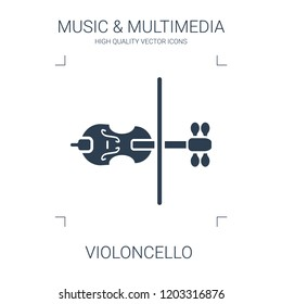 violoncello icon. high quality filled violoncello icon on white background. from music multimedia collection flat trendy vector violoncello symbol. use for web and mobile