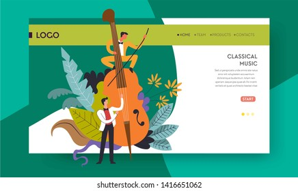 Violoncello playing classical music concert web page template vector musicians and cello online tickets order service performance melodies or symphonies orchestra musical instrument men in white suits