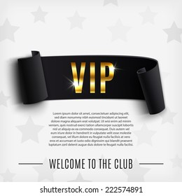 VIP background with realistic black curved ribbon. Vector illustration
