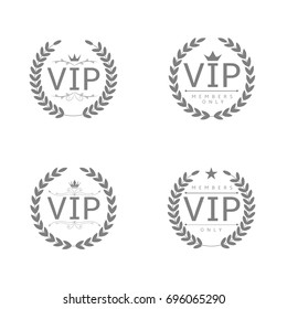 VIP badges. Laurel wreath set, glory luxury glamour symbols