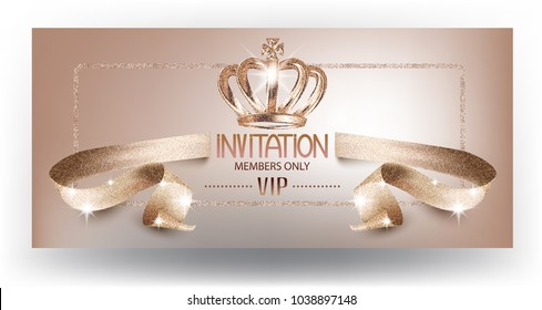 VIP beige beautiful invitation card with curly textured ribbon and crown. Vector illustration