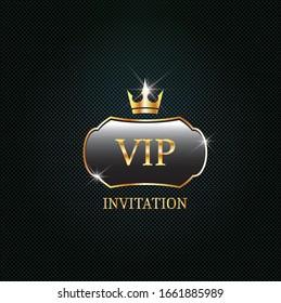 Vip black label with golden crown. Luxury design for invitation, greeting card,  poster, brochure on dark background. Vector premium card design.