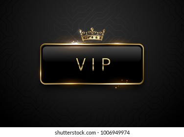 Vip black label with golden frame sparks and crown on black background. Dark premium template. Vector illustration