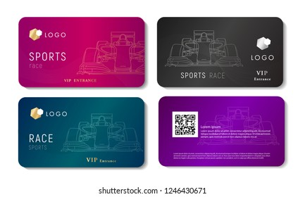 vip bussines card with race sport car linear illustration, set of cards in different colors