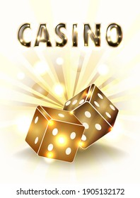 Vip card Casino golden background with two dice, vector illustration