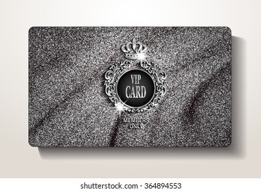 VIP card with silver folded texture